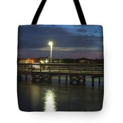 Fishing At Soundside Park In Surf City Tote Bag by Mike McGlothlen