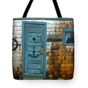 Fishing Hut At Rockport Maritime Tote Bag by Jon Holiday