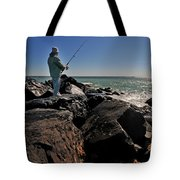 Fishing off the Jetty Tote Bag by Paul Ward