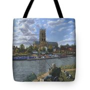 Fishing With Oscar - Doncaster Minster Tote Bag by Richard Harpum