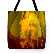 Flames heating up hot air balloon Tote Bag by Garry Gay