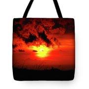 Flaming Sunset Tote Bag by Christi Kraft