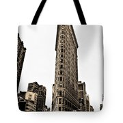Flat Iron Building In Sepia Tote Bag by Bill Cannon