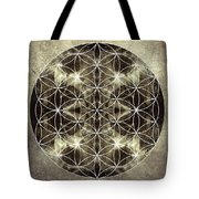 Flower Of Life Silver Tote Bag by Filippo B