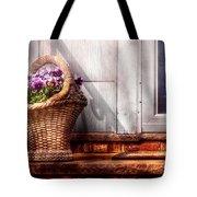 Flower - Pansy - Basket Of Flowers Tote Bag by Mike Savad