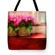 Flower - Tulips By A Window Tote Bag by Mike Savad