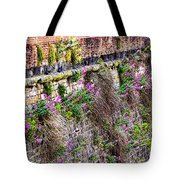 Flower Wall Along The Arno River- Florence Italy Tote Bag by Jon Berghoff