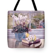 Flowers And Book On Table Tote Bag by Julia Rowntree