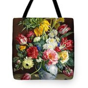 Flowers In A Blue And White Vase Tote Bag by R Klausner