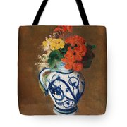 Flowers In A Blue Vase Tote Bag by Odilon Redon