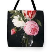 Flowers In A Glass Vase Tote Bag by Daniel Seghers
