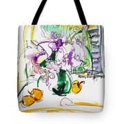Flowers in Green Vase Tote Bag by Becky Kim