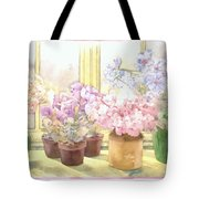 Flowers On The Windowsill Tote Bag by Julia Rowntree