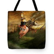 Flying Pig - Steampunk - The flying swine Tote Bag by Mike Savad