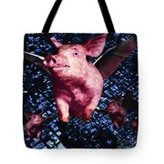Flying Pigs Over San Francisco - square Tote Bag by Wingsdomain Art and Photography