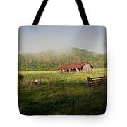 Foggy Barn Tote Bag by Marty Koch