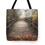 Foggy Lake Park Footbridge Tote Bag by Scott Norris