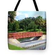 Footbridge In Tuscawilla Park Tote Bag by Dorothy Menera
