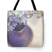 Forget Me Nots In Blue Vase Tote Bag by Lyn Randle