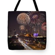 Fort Worth Skyline At Night Fireworks Color Evening Ft. Worth Texas Tote Bag by Jon Holiday