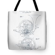 French Horn Patent From 1914 - Blue Ink Tote Bag by Aged Pixel