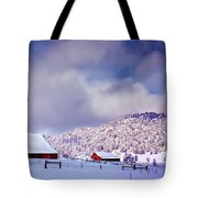 Freshly Fallen Snow on the Ranch Tote Bag by Teri Virbickis