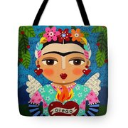 Frida Kahlo Angel And Flaming Heart Tote Bag by LuLu Mypinkturtle