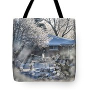 Frosty Winter Window Tote Bag by Thomas Woolworth