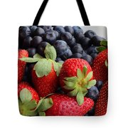 Fruit - Strawberries - Blueberries Tote Bag by Barbara Griffin