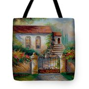 Garden Scene With Villa And Gate Tote Bag by Gina Femrite