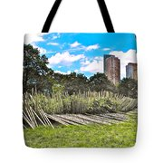 Garden With Bamboo Garden Fence In Battery Park In New York City-ny Tote Bag by Ruth Hager