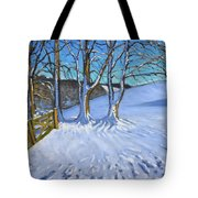 Gate And Trees Winter Dam Lane Derbyshire Tote Bag by Andrew Macara
