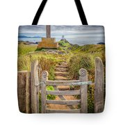 Gate to Holy Island  Tote Bag by Adrian Evans