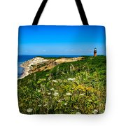 Gay Head Light And Cliffs Tote Bag by Mark Miller