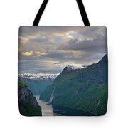 Geirangerfjord Sunset Tote Bag by Benjamin Reed