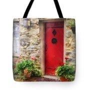 Geraniums By Red Door Tote Bag by Susan Savad