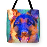 German Shepard - Painterly Tote Bag by Wingsdomain Art and Photography