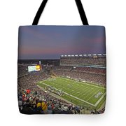 Gillette Stadium And New England Patriots Tote Bag by Juergen Roth