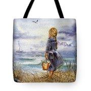 Girl And The Ocean Tote Bag by Irina Sztukowski