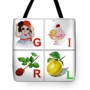 GIRL Art Alphabet for Kids Room Tote Bag by Irina Sztukowski