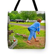 Girl Pretending to be a Horse Pulling a Trailer  Tote Bag by Ruth Hager