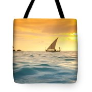 Golden Dhoni Sunset Tote Bag by Sean Davey