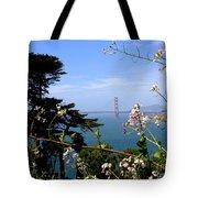 Golden Gate Bridge And Wildflowers Tote Bag by Carol Groenen