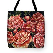 Grandma Lights Peonies Tote Bag by Linda Simon