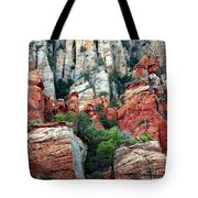 Gray And Orange Sedona Cliff Tote Bag by Carol Groenen