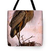 Great Blue Heron Tote Bag by Debra and Dave Vanderlaan