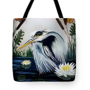 Great Blue Heron Happiness Tote Bag by Adele Moscaritolo