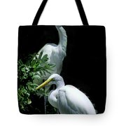 Great Egret Pair Tote Bag by Skip Willits