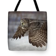 Great Grey Owl In Flight Tote Bag by Jakub Sisak