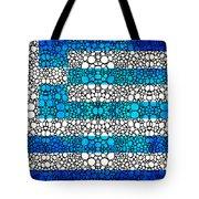 Greek Flag - Greece Stone Rock'd Art By Sharon Cummings Tote Bag by Sharon Cummings